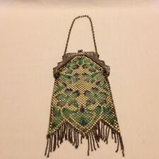 ANTIQUE VINTAGE MANDALIAN ENAMEL MESH FLORAL HANDBAG PURSE-SALE PRICE