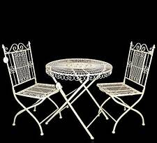 style ancienne table chaise de jardin beige blanc pliable pliante en fer metal