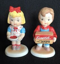 Cambell's Soup Figurines Collectibles Boy and Girl 1993 Ceramic
