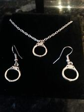 Handcuffs necklace and earring set, Dominant, submissive, mistress, S+M, bondage