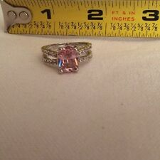 $119.00 Oval Cut Pink & White Topaz Stamped 925 Silver Silver Ring Size 7