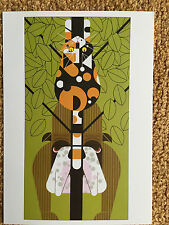 Charley  Charles Harper  Treed Bulldog Calico Cat Art  Card print dog rescue
