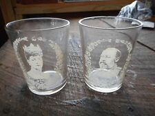 Rare Set of 2 Antique Glass King Edward & Queen Alexandra Coronation Glasses