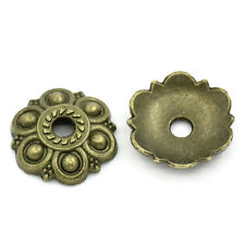 100 PCs Bead End Caps Findings Carved Flower Bronze Tone 13mmx13mm