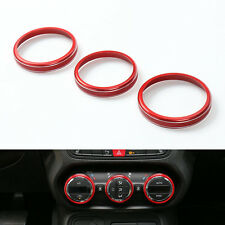 3Pcs Red Aluminum Air Condition Button Knob Ring Cover Trim For Renegade 15-16