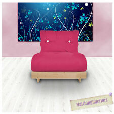 Pink Budget Single Futon Cotton Mattress 1 Seater Sofabed Sofa Guest Armchair