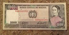 Bolivia Banknote. 1000 Pesos. Uncirculated. Dated 1982.