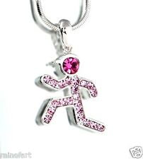 w Swarovski Crystal Runner Jogger Sport Running Man Boy Pink Necklace Jewelry