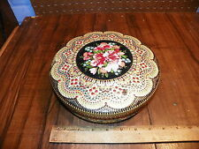 Vintage Embossed Floral Tin Container - Made In Holland