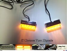 Motorcycle Turn Signal Set ~  Amber LED Indicator Blinker Flasher Light Chrome