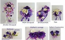 USA Seller -13pc Purple and Ivory Artificial Flowers Wedding Bouquets/Package