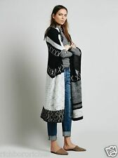 NEW Free People black Solstice Spirit Hooded Poncho Maxi Sweater Coat M/L $268