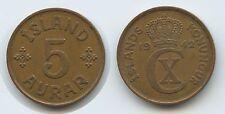 G0662 - Island 5 Aurar 1942 KM#7.2 Iceland Ísland