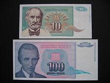 YUGOSLAVIA  10 + 100 Dinara 1994  (P138a + P139a)  UNC