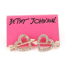 Betsey Johnson Copper-tone EXQUISITE Crystal Arrow Heart Stud Earrings