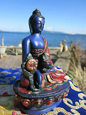 "UNIQUE HANDPAINTED 4+"" Tibetan Buddhist BELOVED HEALING MEDICINE BUDDHA STATUE"