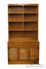 ETHAN ALLEN Heirloom Nutmeg Maple CRP 40″ Shutter Door Cabinet w/ Bookcase