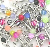 20 x Stainless Steel Ball Top Lip Studs Tragus Ear Rings Monroe Bars Labret