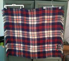 Vintage Concord Pram Rug blanket 100% Virgin wool red white blue plaid CUTTER