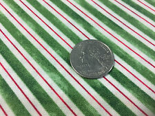 "BTY~RED ROOSTER FABRIC 100% COTTON~ HOME FOR THE HOLIDAY ~ STRIPE ~ GREEN ~ 45""W"