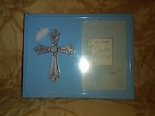 """Light Blue Metal Picture Frame With Cross for 1 3/4"""" x 2 3/4 Picture"""