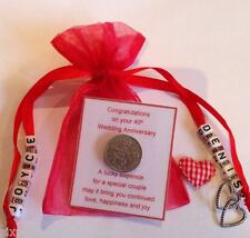 Personalised Ruby wedding 40th Anniversary Sixpence Gift with Heart Charm