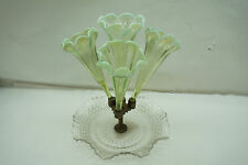 ANTIQUE EPERGNE VICTORIAN ART GLASS 4 HORN TRUMPET VASELINE OPALESCENT