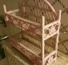 VINTAGE CHIC-N-SHABBY ANTIQUE PINK! WICKER+WOOD 2 SHELF STAND-BATH? OR ANY ROOM!