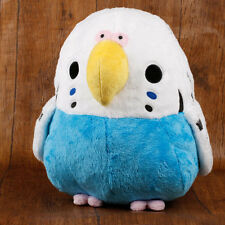 Soft and Downy Bird Stuffed Plush Toy Doll (Budgerigar White Blue / XL 30cm)