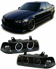 BLACK  CCFL ANGEL EYE HEADLIGHTS HEADLAMPS BMW E36 SALOON ESTATE & COMPACT