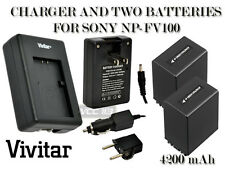 2 Battery + Charger FOR SONY NP-FV100 4200 mAh DCR-DVD650 HDR-CX110 HDR-XR150