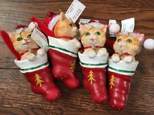 Set Of 4 New With Tags Pier 1 Imports Cats Christmas Ornaments Sequins Glitter