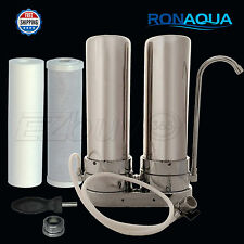 Dual Stainless Steel Countertop Water Filtration Unit: Carbon Block & Sediment