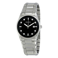 Bulova Mens Black Dial 8 Diamonds Bracelet Watch 96D104