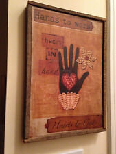 Distressed Frame in Tobacco Lath - HANDS TO WORK HEARTS TO GOD
