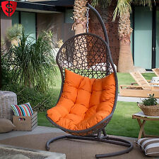 Wicker Hanging Egg Chair Resin Swing Cushion Patio Seat Deck Stand Outdoor