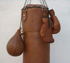 VINTAGE TAN LEATHER BOXING GYM PUNCH BAG, GLOVES, PUNCH BALL & FITTING - RETRO