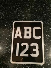 6x8 classic Black & Silver number plate motorbike motor cycle bike show plate.