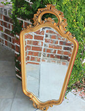 Antique French Gilt Wood Framed BEVELED Wall Mirror Rococo Baroque Style