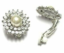 White Crystals Border and White Pearls Silver Clip On Unpierced Earrings