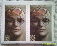 1996 Scott 3065 Fulbright Scholarships two used and cancelled 32 cent stamps
