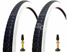 (Pair of) 26 X 1 3/8 Raleigh Record White Wall Tyres And Raleigh Tubes Presta