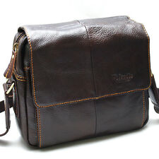 New Brown Genuine Leather Men's Women Business Messenger Shoulder Bag-0980