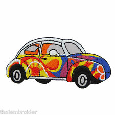 VW Volkswagen Bug Car Peace Hippie Colorful Flowers Cute Iron on Patches #MC006
