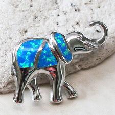 PRETTY ELEPHANT BLUE OPAL 925 STERLING SILVER PENDANT