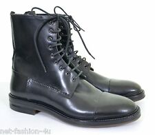 ALEXANDER McQUEEN MEN'S LACED UP BLACK WASHED LEATHER BOOTS UK 8 EU 42 US 9