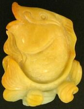 Natural Carved Yellow Jadeite Jade Fish Rising From The Ocean Statuary