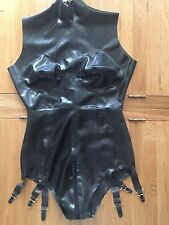 Latex rubber gummi catsuit Leotard Crotch Zips sz 10-sm 12s Tailored Boob Cups