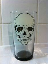 Hand Painted Gothic Skull Washable Pint Glass Gift White & Black Goth Punk UK