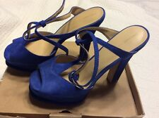 Blue Suede High Heel Platform Sandals Size 8